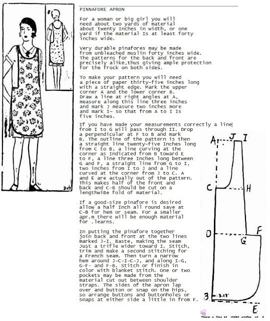 Some interesting free aprons and history on this site.Free 1920's vintage apron pattern sewing practical cooking cleaning fabric