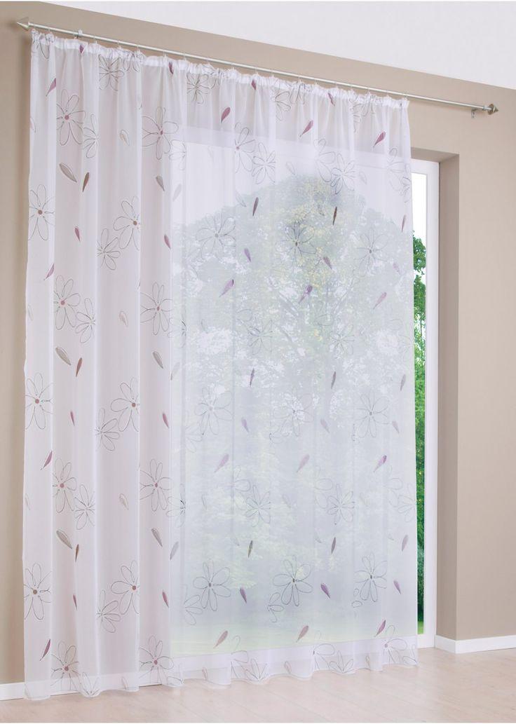 """Jetzt anschauen: Die Gardine """"Ria"""" verschönert dank ihres modernen Blumendrucks jeden Raum. Die transparente Gardine in feiner Voile-Qualität ist waschbar und pflegeleicht und beispielsweise toll mit einem Wolkenraffstore zu kombinieren. Die Gardine """"Ria"""" schafft ein frisches Ambiente. Damit sie besonders stilvoll zur Geltung kommen kann, empfiehlt es sich, die 3-fache Fensterbreite zu bestellen, um für eine schöne Raffung zu sorgen."""