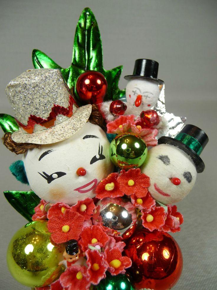 vintage snowmen corsage