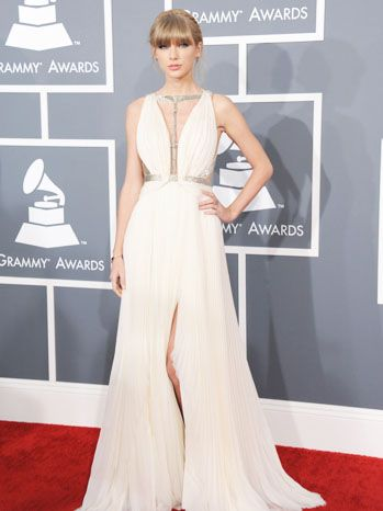 Taylor Swift in white J. Mendel gown
