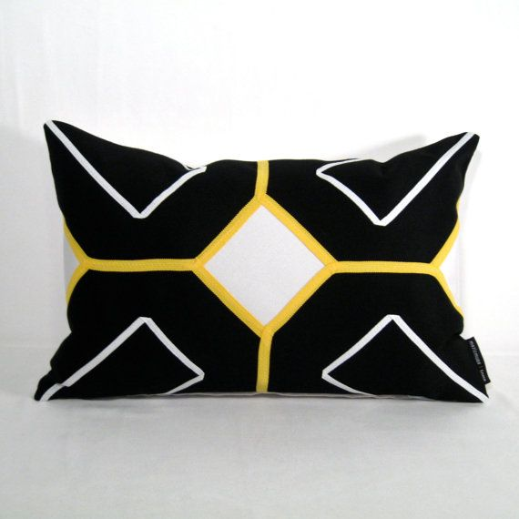 Black White And Yellow Decorative Pillows : Black White Outdoor Pillow Cover, Modern Yellow Geometric Pillow Cover, Decorative Throw Pillow ...