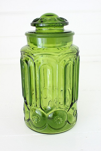 """""""Moon & Stars"""" green glass canister"""