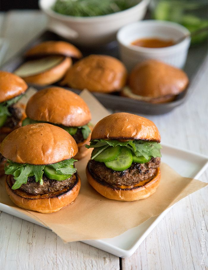 These Asian Sliders are seasoned with a sweet glaze, topped with gochujang mayo and crunchy quick pickles.