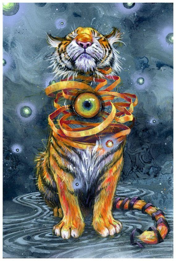 Тигр в цветах картинки