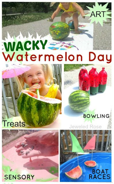 WACKY Watermelon Day- A Summer FUN day packed with activities to keep kids busy and having fun- watermelon boat races, bowling, art, sensory, treats, and more!  TONS of ideas in this post!