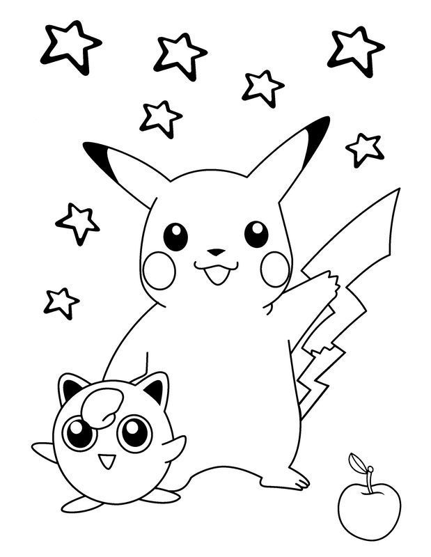 Coloring Page Pokemon Picture Pikachu With His Friend Malvorlagen