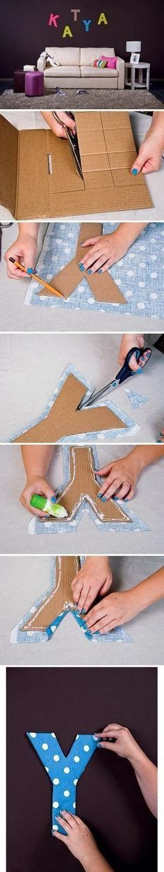Cut girls names out of cardboard and cover with fun fabrics? Great wall art!