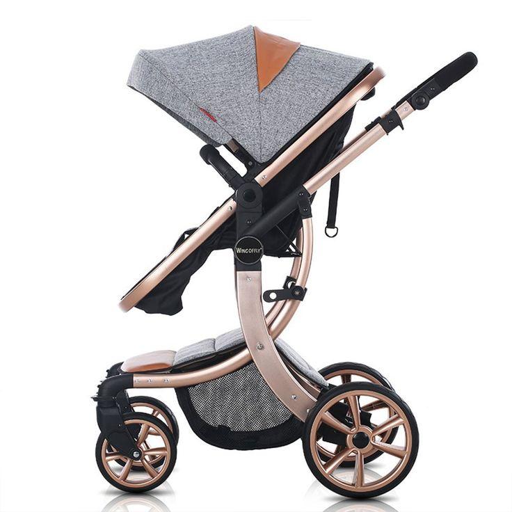 OLizee® Luxury Newborn Baby Pram Infant Foldable Anti-shock High View Stroller Pushchair(Grey)