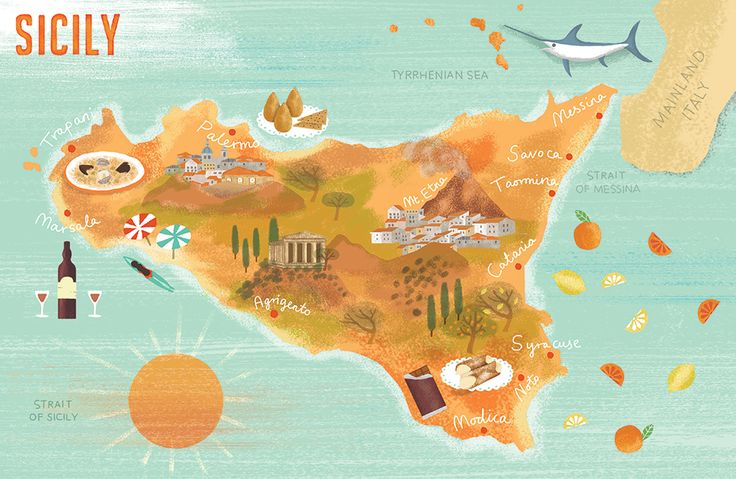 Map of Sicily by Maggie Li for Gino D'Acampo's new cookbook. Published by Hodder