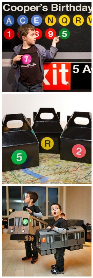 subway train cake | the Subway costumes to the custom Subway birthday sign, this subway ...