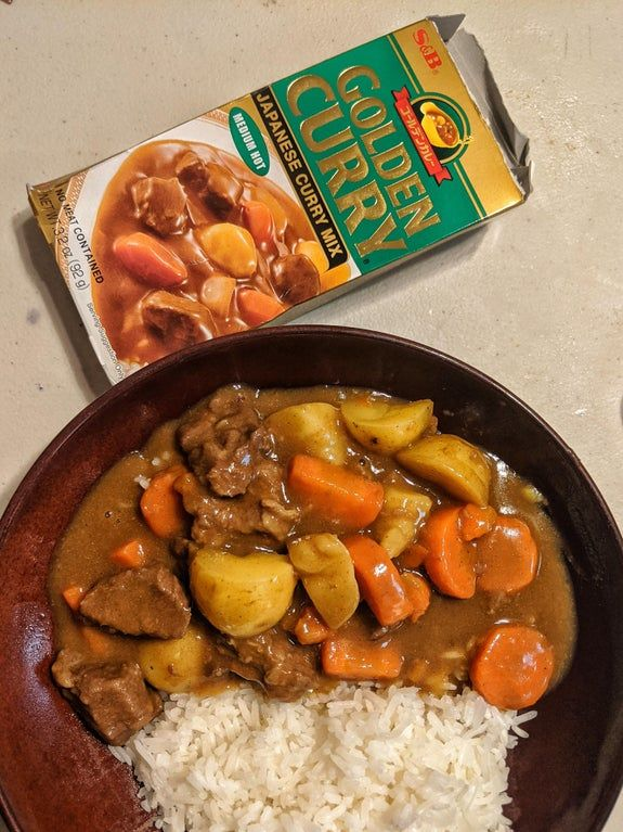 Golden Curry In The Ip For An Easy Comforting Sunday Dinner Rice Done In Rice Cooker Instantpot In 2020 Golden Curry Easy Asian Recipes Curry Recipes Easy