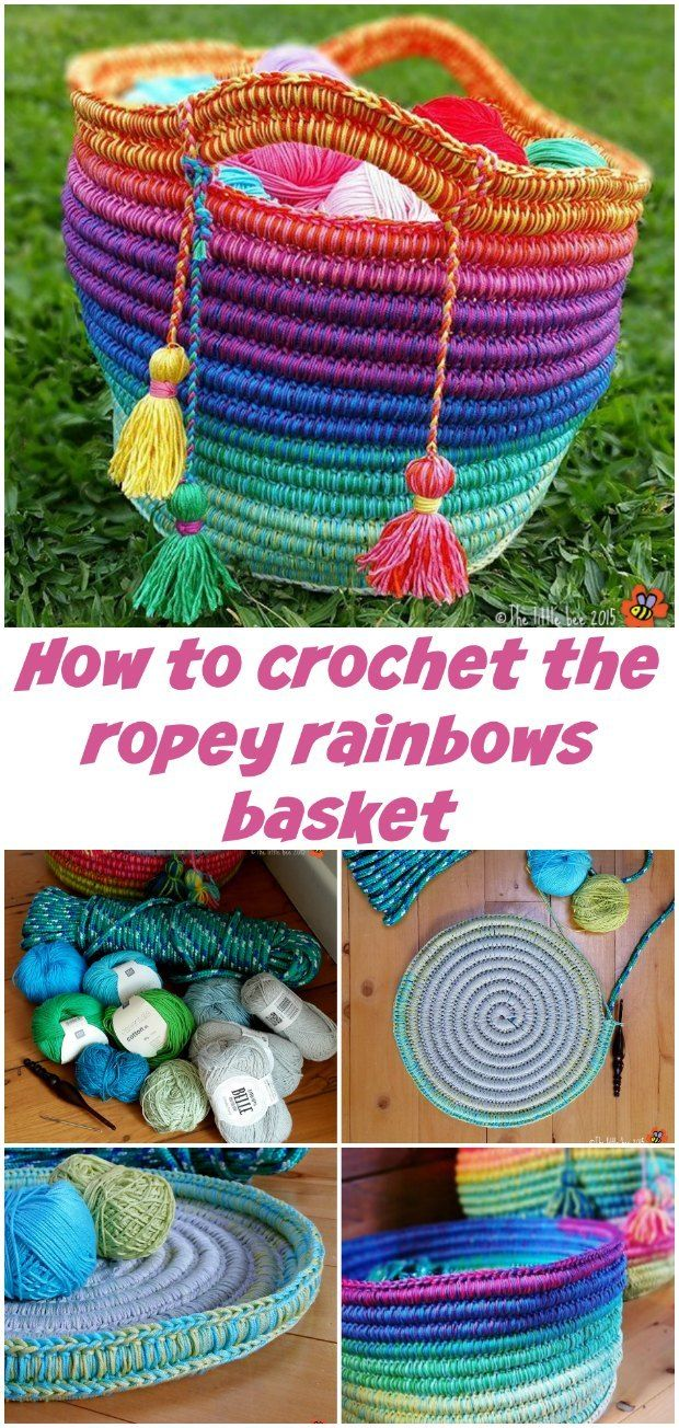 How to make these crochet and rope baskets.  Can be used as a tote bag or purse too.  The rope or cord keeps them strong and sturdy.