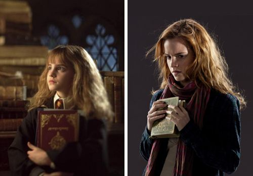 Hermione with her books - in the beginning, and at the end
