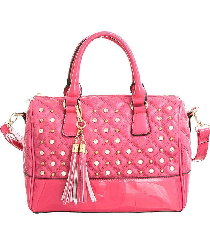 "Purse Boutique: Fuchsia ""Glossy Trim"" Structured Crossbody Satchel Handbag with Bling, Purses"