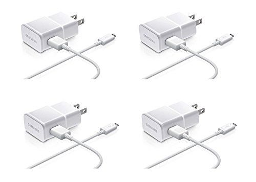 Samsung 2-Amp Adapter Data Cable for Samsung Mobiles, 4 Pack - Non-Retail Packaging - White