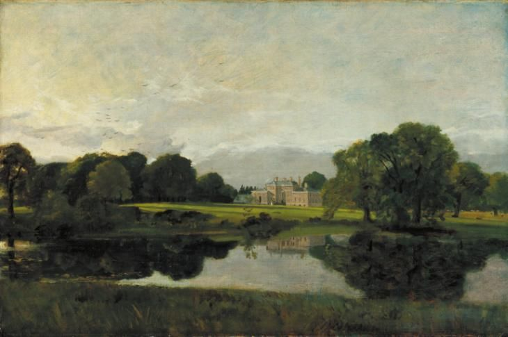 Artwork page for 'Malvern Hall, Warwickshire', John Constable, 1809 on display at Tate Britain. This view of Malvern Hall in Warwickshire, seen from raised ground across a stretch of water, recalls a long tradition of country house portraiture which goes back to the seventeenth century. Yet it appears to have been painted for Constable's own interest rather than being a formal, commissioned work. The sun is sinking below the trees to the left, which cast long shadows across the lawn at the…