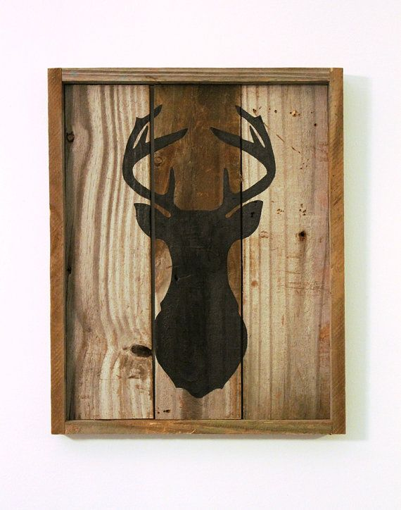 deer silhouette sign reclaimed wood wedding by. Black Bedroom Furniture Sets. Home Design Ideas
