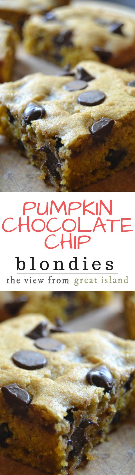 Run, don't walk, to your kitchen to whip up a batch of these insanely tender and delicious Pumpkin Chocolate Chip Blondies ~ this easy pumpkin dessert is a big hit with everybody! | chocolate chips | pumpkin | fall dessert | brownies | bars |
