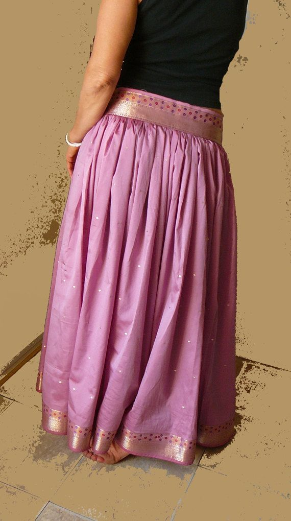 long silk skirt pink mauve dusty rose gold woodland by syamarts