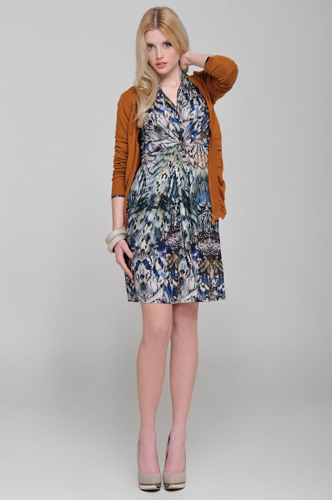 Ruffle neck knitted cardigan, Sleeveless belted printed dress