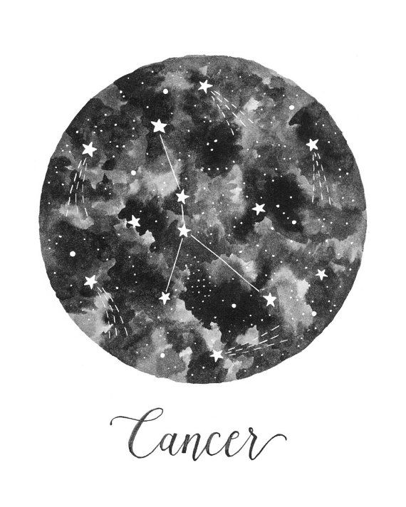 Cancer Constellation Illustration Vertical by fercute on Etsy                                                                                                                                                                                 Mais
