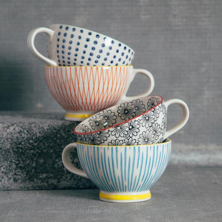 Jumbo Pattern Latte Mugs Relish Decor