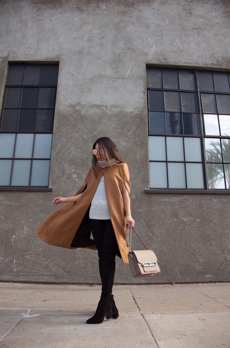 29b3ad899bfc Poshclassymom Zara camel cape skinny jeans over the knee boots Hermes bag.  #beauty #