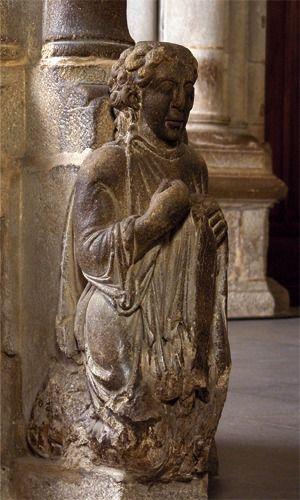 Detalle Pórtico de la Gloria. Santo dos Croques Catedral de Santiago de Compostela. S. XII