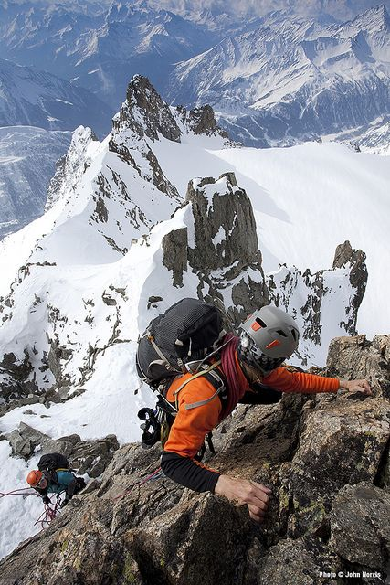 Key Theme: Partnership between climbers/ fellowship of the rope Position looking down on both climbers working together Additional Thinking: In this photo you really get the impression the the climbers are working together to achieve their goal. An important dynamic to capture