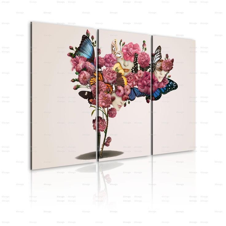 Quadro Farfalle, fiori e carnevale