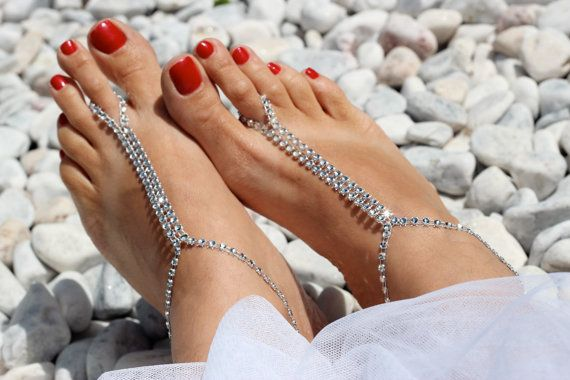 Silver Rhinestones Barefoot Sandals Foot Jewelry Sexy by Kreacje
