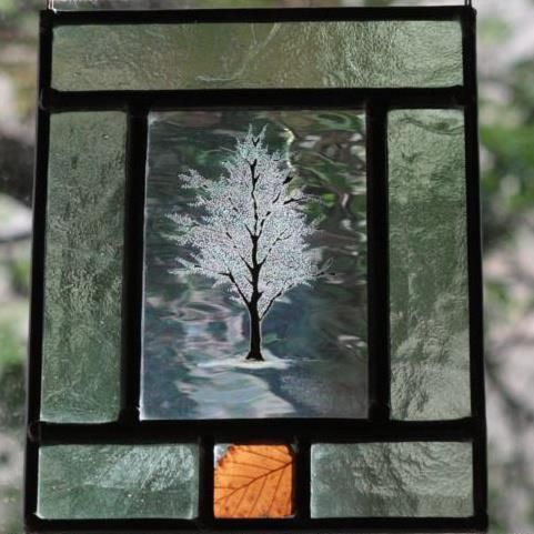Leaded Gl Window Hanger With Painted Fired Tree Engraved Foliage Detailing On An