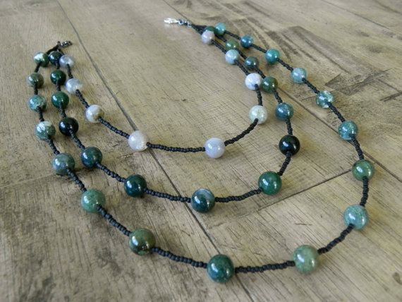 Multistrand Stone Necklace  Green Fancy Jasper by Studio70Seven, $46.00