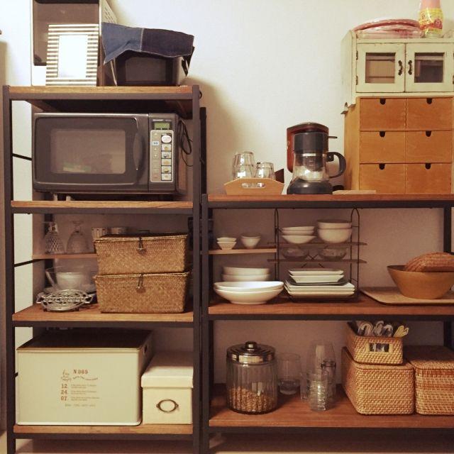 neopipeさんの、キッチン,無印良品,IKEA,家電,一人暮らし,カゴ,salut!,3Coins,見せる収納,アイアンシェルフ,DURALEX,オーブンレンジ&トースター,ZAGA,のお部屋写真
