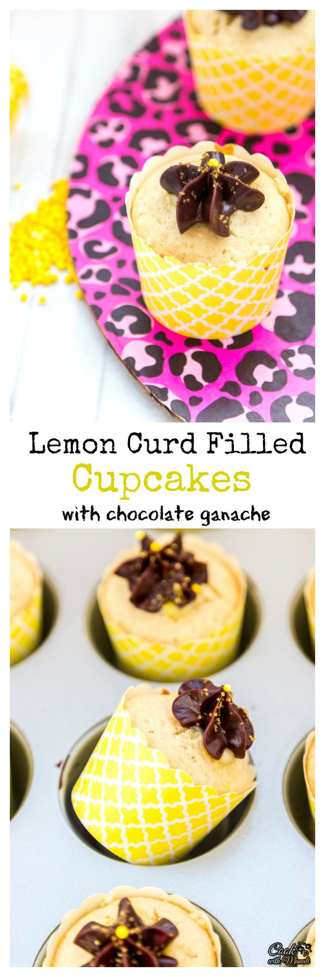 Welcome spring with these Lemon Curd Cupcakes topped with Chocolate Ganache!