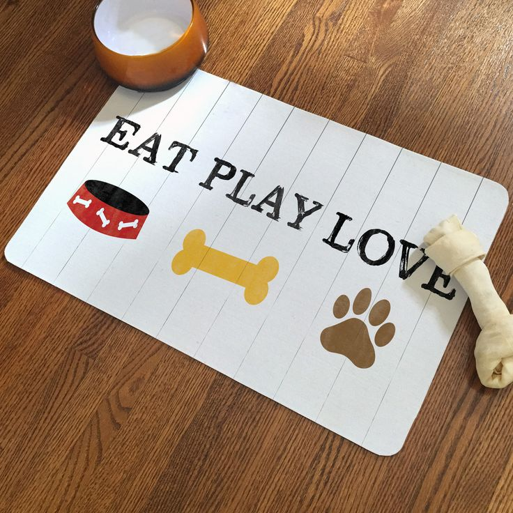 Your dogs favorite things: Eating, Playing, Loving! Have your pet dine in style with Laural Home's stylish waterproof pet mat. The non-skid, non-slip back won't mark your floors and will keep the mat
