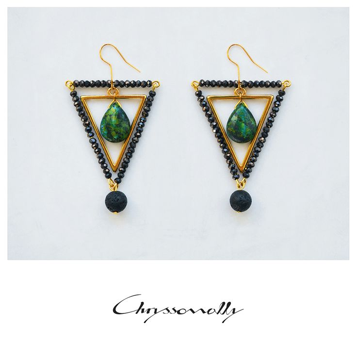 JEWELRY | Chryssomally || Art & Fashion Designer - Amazing emerald chrysocolla stones set in a luxurious gold and black geometric combo with gemstones and crystals.