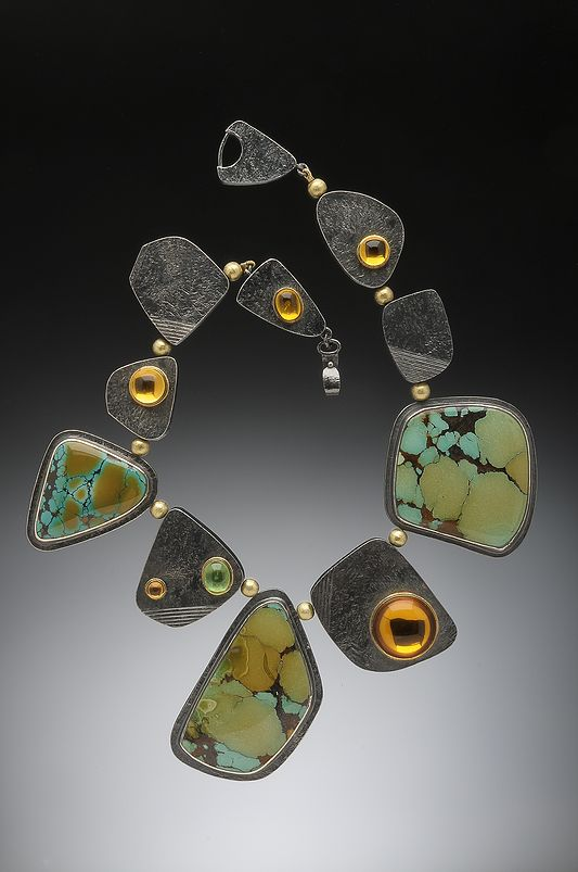 Hughes-Bosca Jewelry | Necklaces of Chinese turquoise, hollow oxidized silver beads, citrine, tsavorite garnet cabochons set in 18k