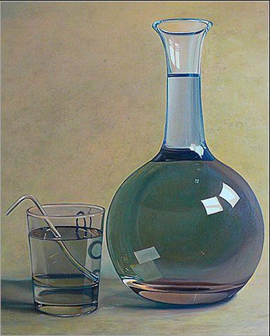 Martwa natura z wodą 41 x 33 cm olej na płótnie