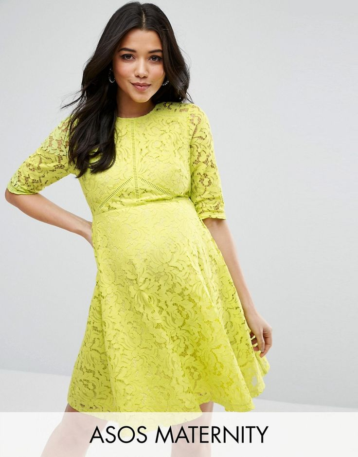 ASOS Maternity Skater Dress in Lace - Yellow