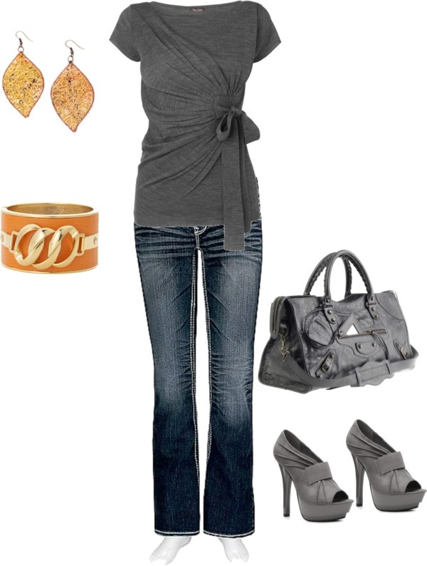 """gray/orange"" by yiannab on Polyvore"