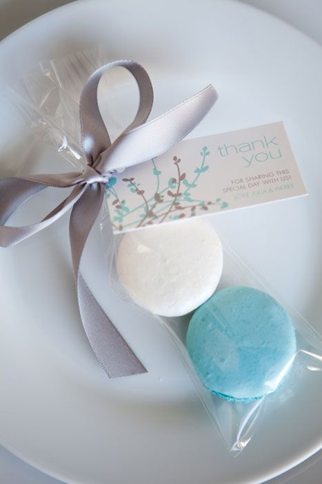 Macarons as favors! Would the ribbon look better in silver, or soft gold? I…