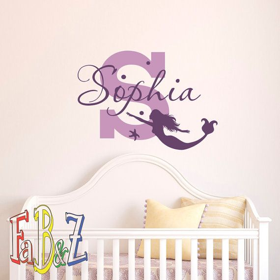 Girl Name Wall Decal  Mermaid Wall Decal Personalized Baby Girl Gift  Vinyl Wall  Decal
