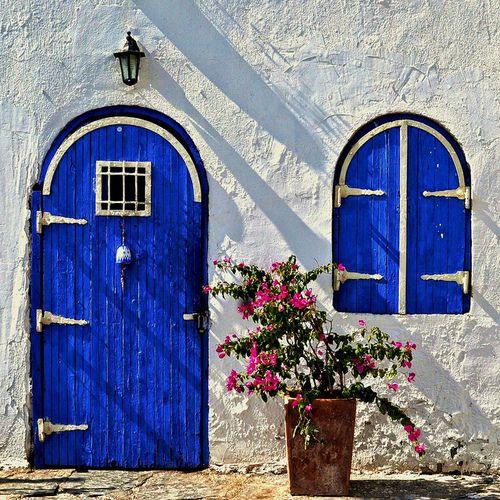 cute door and window in Greece