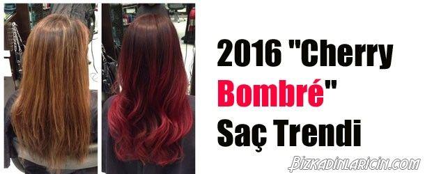 """2016 """"Cherry Bombré"""" Saç Trendi - http://www.bizkadinlaricin.com/2016-cherry-bombre-sac-trendi.html  Son günlerde saçlarda yeni bir trend hakim Kiraz bombre saçlar! peki bu saç trendi ne anlama geliyor? Kiraz bombré temelde siyah ve koyu renk saçlı kişilerin aynı ombrede olduğu gibi saçlarına kiraz kırmızısı tonlarda renk vermesiyle ortaya çıkıyor. Bir nevi kırmızı ombre saçın yeni ismi diyebiliriz. Ombre saçın dip renginin kişinin d"""