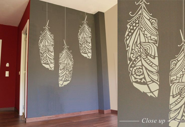 Forest Feathers wall stencil -  decorative Scandinavian wall stencil for DIY projects - Tribal pattern - Easy home decor - Bohemian Wall by StenCilit on Etsy https://www.etsy.com/listing/190563778/forest-feathers-wall-stencil-decorative