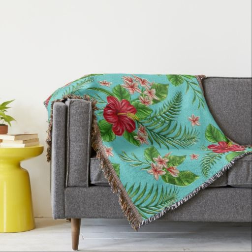 Cute Coral Tropical Hibiscus Flower On Turquoise Throw Blanket