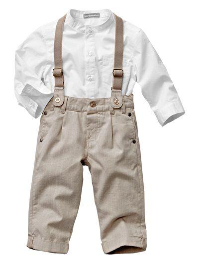Baby Boy's Shirt & Trousers Outfit White / beige Vertbaudet! Comprei - para o baby D. estrear no aniversário da avó! <3 <3 <3