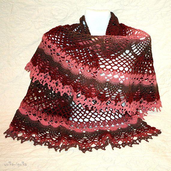 Big burgundy semicircle crocheted shawl by yolkaigolka on Etsy, $75.00