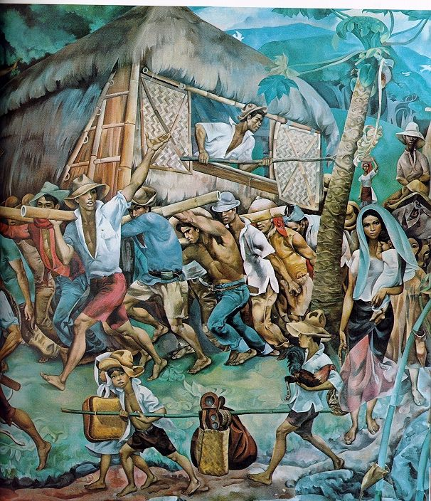 """""""Bayanihan sa Bukid"""" by Philippine National Artist, Carlos V. Francisco (November 4, 1912 – March 31, 1969); this mural depicts a community transferring a house to a new place"""